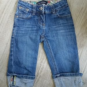 Mini Boden Floral Cuff Jeans